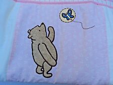Classic Pooh Bumper Dust Skirt Cream Pink Green Baby Bedding