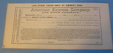 Old 1891 American Express Co. - LIVE STOCK CONTRACT Document - Unused