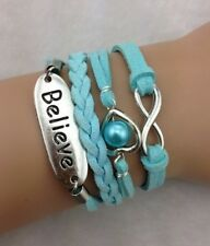 NEW Infinity  Believe Heart Pearl Leather Charm Bracelet plated Silver !!!!