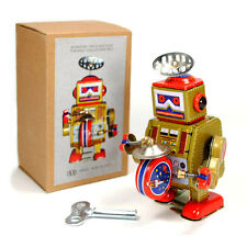 TIN TOY ROBOT Wind Up Metal Vintage Style Gold Gift NIB Cosmic Space Collectable