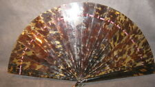 LARGE VICTORIAN CARVED BRISE FAUX TORTOISESHELL FAN EVENTAIL CHINESE INTEREST