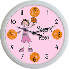 """""""I Love Basketball"""" Personalized Girl Basketball Player Clock Sports New 10"""""""