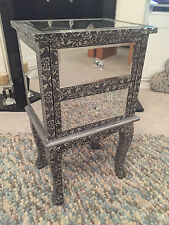 Blackend Silver Metal Embossed Mirrored 2 Drawer Bedside Cabinet