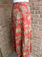LAUREN RALPH LAUREN 18W BUTTON FRONT100% LINEN LADIES RED MAXI  SKIRT