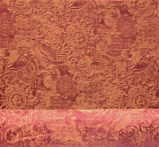 Drapery Upholstery Fabric Traditional Floral Medallion Design - Copper/Burgundy