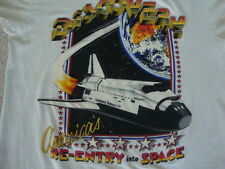 Vintage 80's Discovery Space Shuttle USA neon earth paper thin T shirt S