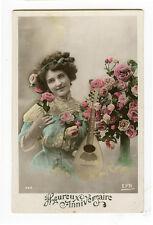 c 1912 Glamour Music LADY WITH MANDOLIN tinted photo postcard