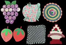 Lot of 7 Hand Made Vintage Pot Holders Bonnet Grapes Strawberries etc.