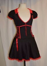 Coquette Sexy Nurse Dress Costume Party Halloween Fantasy Play Sz S/M Black Red