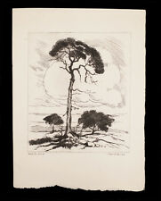 WILLIAM SELTZER RICE ETCHING PRINT WHITE OAK TREES LANDSCAPE ART LISTED ARTIST