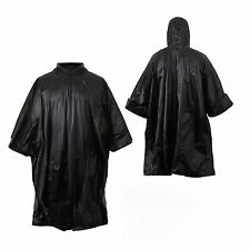 BLACK RAIN PONCHO w/ HOOD & RipStop / Survival SHELTER EDC Bug Out Bag COMBAT