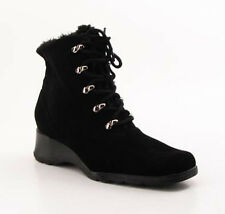 New Naturalizer Women Blk Fur Ankle Wedge Heel Bootie Lace Up Boot Shoe Sz 8 M
