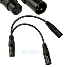 3pin XLR FEMALE jack to dual 2 MALE plug Y SPLITTER cable adaptor 1 ft foot cord