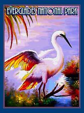 Egret Bird Everglades National Park Florida Travel Advertisement Poster