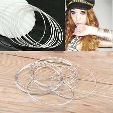 Lots 10pcs Seamless Argent ultra-mince Skinny ronde Hoops Cuff Bracelet Bangle
