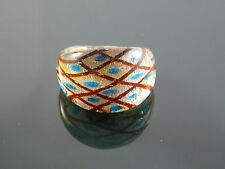 Murano Glass Silver Foiled Lampwork Handmade Multicolor Ring US 8.5""