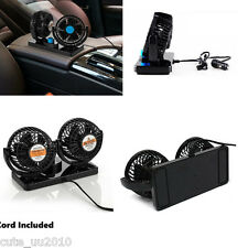 Summer Black Car 12V 360° All-Round Dual Head Cold Air Cooling Con Turbo Fan