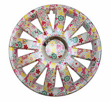 4x14'' Wheel trims hub caps Ford Fiesta Ka uniqe flowers pattern ladies pink