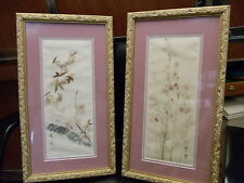 VINTAGE PAINTING Chinese Flowers TREES ON Silk  SIGNED? FRAMED ESTATE CLEAN OUT