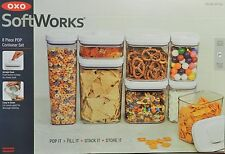 New OXO Soft Works 8 pc Pop Container Set Food Storage Air Tight Lids Canisters