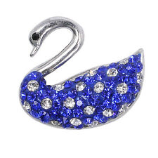 Clay Rhinestone Swan Chunk Snap Button fit for Noosa Bracelet Necklace KA9139