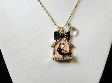 Betsey Johnson Bird house Pendant Necklace from the Doll House Collection New