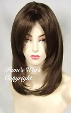 Sleek Face Frame Layered Straight Wig In Medium Brown +Highlights From Fumi Wigs