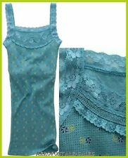 AEROPOSTALE LACE STRAPS FLORAL FOUNTAIN BLUE THERMAL TANK TOP CAMI CAMISOLE to S