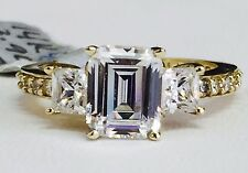 SOLID 14K yellow gold three-stone Emerald cut Cubic Zirconia engagement ring