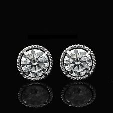 2CT Brilliant Round Earrings 14K White Gold Studs Screwback Halo Rope Design