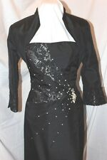 NWT Cameron Blake MOB evening  BLACK! occasion formal cocktail dress w/bolero 10