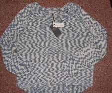 Womens fatface chunky corded  jumper BLUES BLUE UK LARGE  BNWT