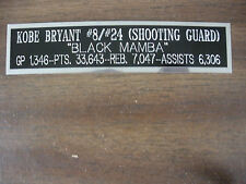 KOBE BRYANT NAMEPLATE FOR SIGNED BALL DISPLAY/JERSEY CASE/PHOTO