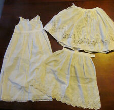 Estate Fresh~Lot of 3 Antique White Baby Petticoat Slips~Broderie Anglaise Lace