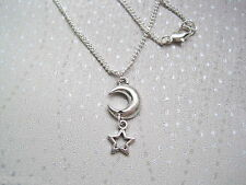 CHUNKY CRESCENT MOON & STAR Ditsy Charm Necklace Silver Plated chain GIFT POUCH