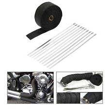 10m Roll Black Fiberglass Exhaust Header Pipe Heat Wrap Tape + 10 Ties Kit D3N4