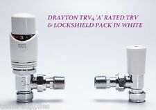 DRAYTON TRV4 ANGLED THERMOSTATIC RADIATOR VALVE WITH LOCKSHIELD PACK WHITE