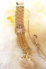 ANTIQUE VICTORIAN c1890 GOLD GF BRAIDED POCKET WATCH CHAIN WITH WAX SEAL FOB