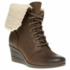 UGG® AUSTRALIA ZEA OIL SUEDE SHEARLING WEDGE ANKLE BOOTS UK 8.5 EUR 41 RRP £130