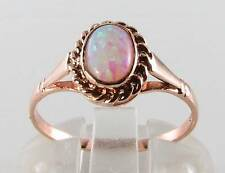 LOVELY 9CT ROSE GOLD FIERY OPAL ART DECO VICTORIAN SOLITAIRE RING FREE RESIZE