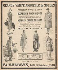 Y9512 BURBERRYS grande vente annuelle de soldes - Pubblicità d'epoca - 1926 Ad