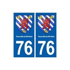 76 Tourville-la-Rivière blason autocollant plaque stickers ville arrondis