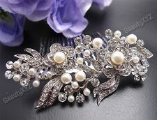 Bridal Wedding Jewelry Crystal Rhinestone Pearl Duo Flowers Hair Comb Silver #86