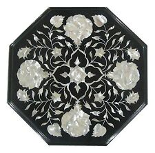"""18"""" Black Marble Dining Table Top Mother of Pearl Marquetry Living Art Deco H334"""