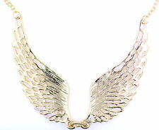 Gold / silver tone angel wing wings necklace with crystal