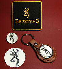 BROWNING GUNS,  KEY RING, SILVER PLATED BADGE & PATCH SET  & FREE PHONE STICKER