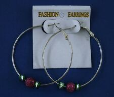 Hoop Fashion Earrings Sparkly Ball & Green Trinkets USA Seller Free USA Shipping