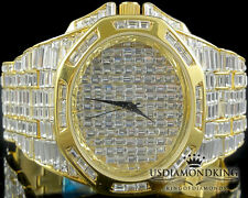 MENS NEW YELLOW GOLD FINISH FULL ICED OUT BAGUETTE STONE BLINGMASTER WRIST WATCH