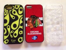 iphone 5 case lot of 3 i phone 5 5s cases ( chicago blackhawks, bubbles, iluv )