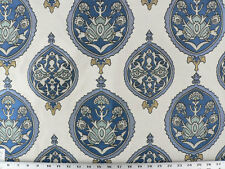 Drapery Upholstery Fabric Jacquard Floral Emblem Design - Lake Blue on Beige